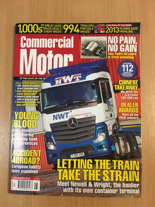 Newell & Wright Group On The Front Cover of Commercial Motor Magazine
